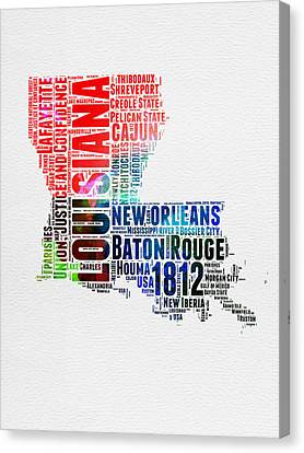 Louisiana Watercolor Word Cloud Map  Canvas Print by Naxart Studio