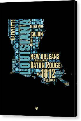 Louisiana Word Cloud Map 1 Canvas Print by Naxart Studio