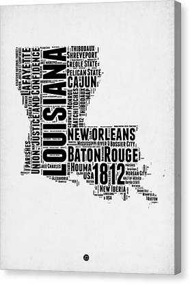 Louisiana Word Cloud Map 2 Canvas Print by Naxart Studio
