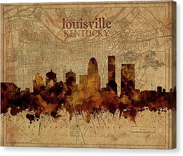 Old Map Canvas Print - Louisville Kentucky Skyline Vintage 2 by Bekim Art
