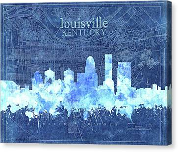 Old Map Canvas Print - Louisville Kentucky Skyline Vintage 3 by Bekim Art