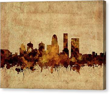 Old Map Canvas Print - Louisville Kentucky Skyline Vintage by Bekim Art
