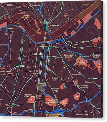 Louisville Map Canvas Print by Brandi Fitzgerald