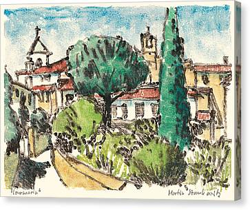 Canvas Print featuring the painting Lourmarin Provence by Martin Stankewitz