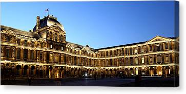 Canvas Print featuring the photograph Louvre At Night 1 by Andrew Fare