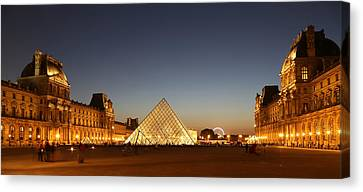 Canvas Print featuring the photograph Louvre At Night 2 by Andrew Fare