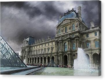 Canvas Print featuring the mixed media Louvre by Jim  Hatch