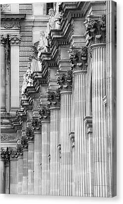 Canvas Print featuring the photograph Louvre Pillars, Paris, 2015 by Hitendra SINKAR