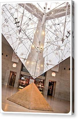 Canvas Print featuring the photograph Louvre Pyramid by Silvia Bruno