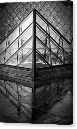 Glass And Metal Art Canvas Print - Louvre Pyramids Paris Bw by Joan Carroll