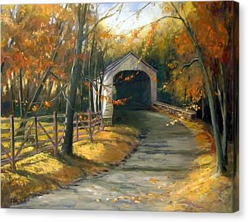 Loux Covered Bridge Canvas Print by Kit Dalton