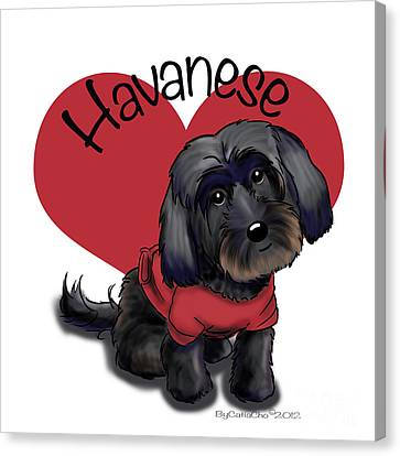 Lovable Black Havanese Canvas Print by Catia Cho
