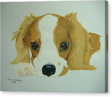 Canvas Print featuring the painting Lovable Puppy by Norm Starks