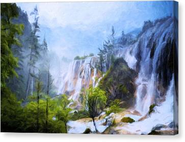 Love Affair By A Waterfall Canvas Print by Georgiana Romanovna