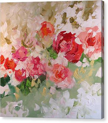 Green Rose Canvas Print - Love Always by Linda Monfort