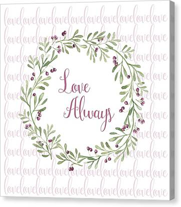 Love Always Wreath Pink And Green Square Canvas Print by Terry DeLuco