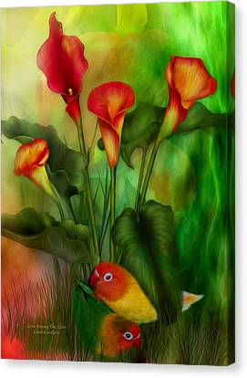 Love Among The Lilies  Canvas Print by Carol Cavalaris