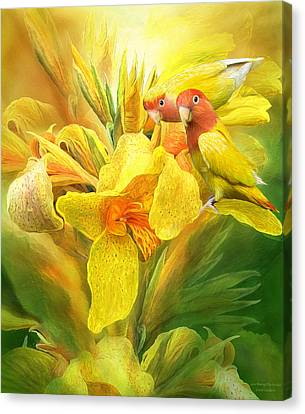 Canvas Print featuring the mixed media Love Among The Orchids by Carol Cavalaris