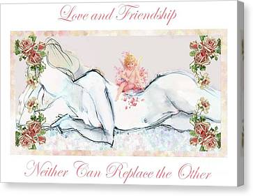Canvas Print featuring the mixed media Love And Friendship - Valentine Card by Carolyn Weltman