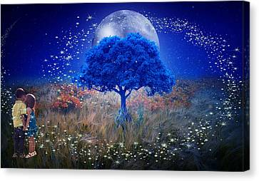Love Under The Blue Moon Canvas Print