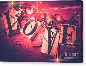 Glitter Canvas Print - Love Birds And Wooden Sentiments by Jorgo Photography - Wall Art Gallery