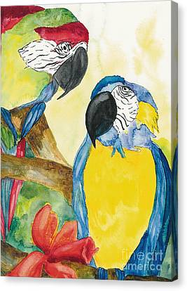 Canvas Print featuring the painting Love Birds by Vicki  Housel