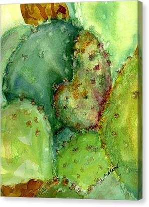 Canvas Print featuring the painting Love Cactus by Marilyn Barton