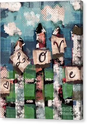 Love Fence Canvas Print by Carrie Joy Byrnes