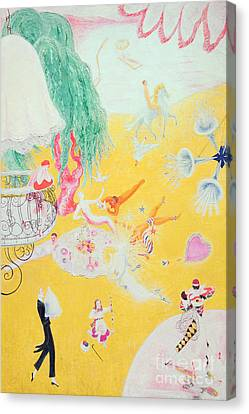 Love Flight Of A Pink Candy Heart Canvas Print by  Florine Stettheimer