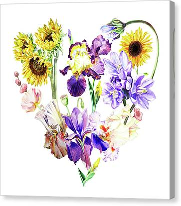 Canvas Print featuring the painting Love Flowers by Irina Sztukowski