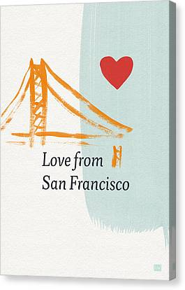 Love From San Francisco- Art By Linda Woods Canvas Print by Linda Woods