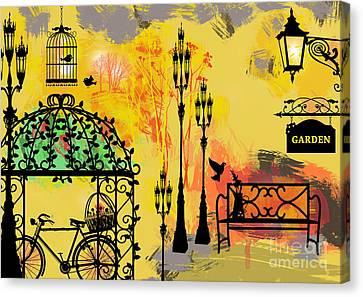 Oil Lamp Canvas Print - Love Garden  by Prar Kulasekara