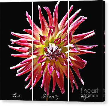 Canvas Print featuring the photograph Love Generosity Hope by Diane E Berry