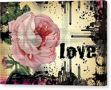 Love Grunge Rose Canvas Print