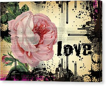 Canvas Print featuring the digital art Love Grunge Rose by Robert G Kernodle