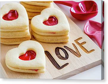 Canvas Print featuring the photograph Love Heart Cookies by Teri Virbickis