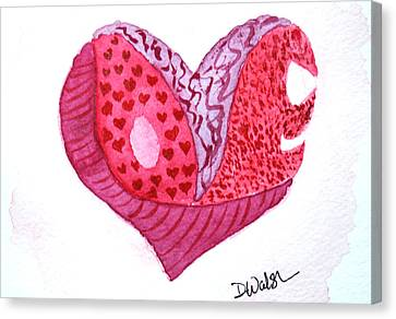 Canvas Print featuring the painting Love Heart by Donna Walsh