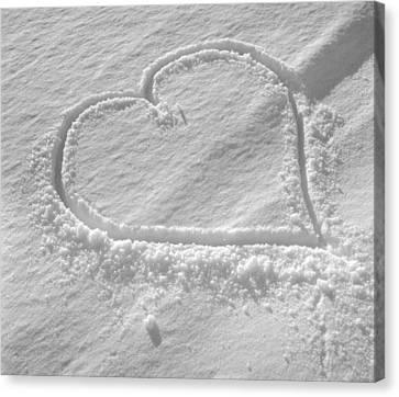 Love Heart In The Snow Canvas Print