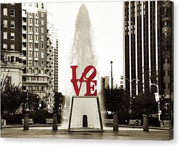 White Canvas Print - Love In Philadelphia by Bill Cannon