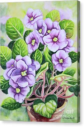 Canvas Print featuring the painting Love In Purple 1 by Inese Poga