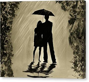 Love In The Rain D Canvas Print by Leslie Allen