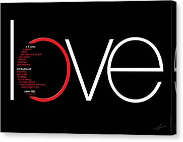 Bible Verse Canvas Print - Love Is And Does by Shevon Johnson
