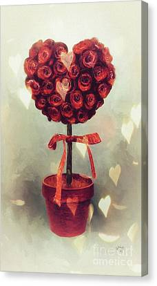 Canvas Print featuring the digital art Love Is In The Air by Lois Bryan