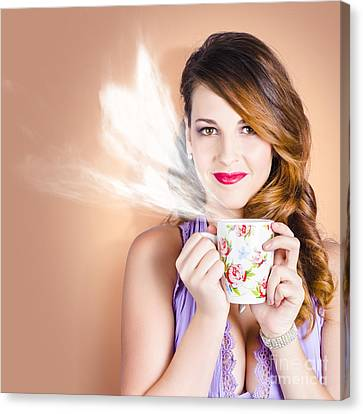 Love Is In The Air. Woman With Coffee Cup Canvas Print