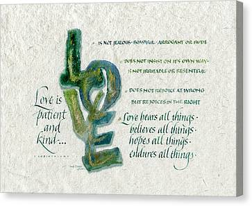 Love Is  Canvas Print by Judy Dodds
