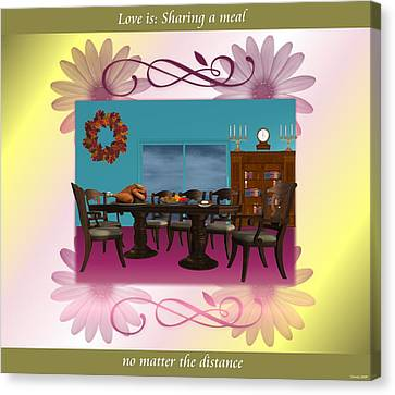 Love Is  Sharing A Meal Canvas Print by Morning Dew