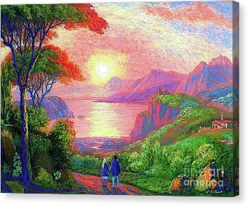 Red Skies Canvas Print -  Love Is Sharing The Journey by Jane Small