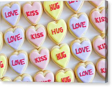 Canvas Print featuring the photograph Love Kiss Hug Heart Cookies by Teri Virbickis