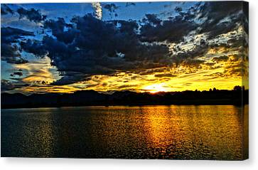 Canvas Print featuring the photograph Love Lake by Eric Dee