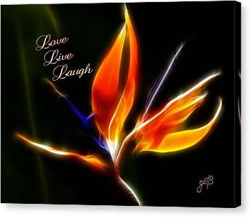 Love Laugh Live Strelitzia Reginae Digital Artwork Canvas Print